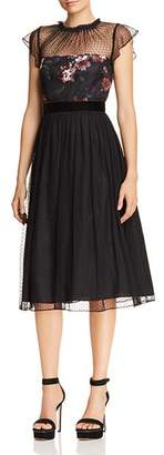 Adrianna Papell Floral Print & Dot Tulle Flare Dress