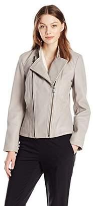 T Tahari Women's Carry Double Zipper Assymetrical Leather Jacket
