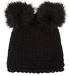 Barneys New York WOMEN'S WOOL-BLEND DOUBLE POM-POM HAT-BLACK