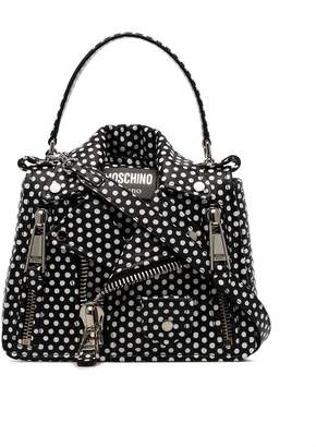 Moschino black and white polka dot leather jacket shoulder bag