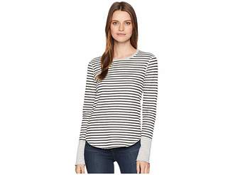 Three Dots Cozy Stripe Long Sleeve Top