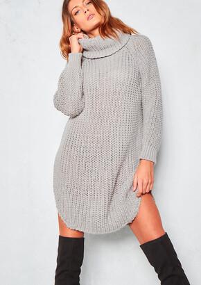 e082902a889d26 Missy Empire Jewell Grey Chunky Knit Roll Neck Jumper Dress