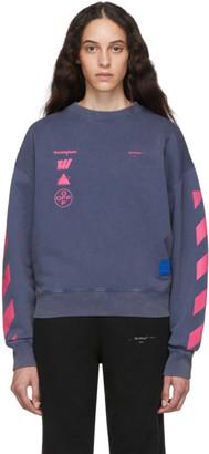 Off-White Off White Blue and Multicolor Diag Mariana De Silva Over Sweatshirt