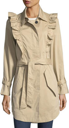 Joie Gila Button-Front Belted Trench Coat