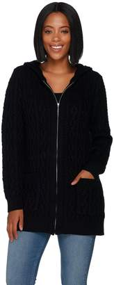 Denim & Co. Regular Cable Zip Front Hooded Tunic Cardigan