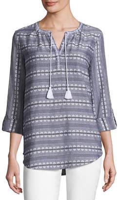Liz Claiborne 3/4 Sleeve Split Crew Neck Roll Tab Embroidered Blouse