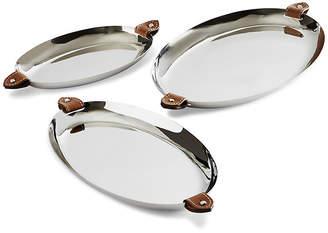 Ralph Lauren Home Set of 3 Wyatt Nesting Trays - Silver/Saddle Brown