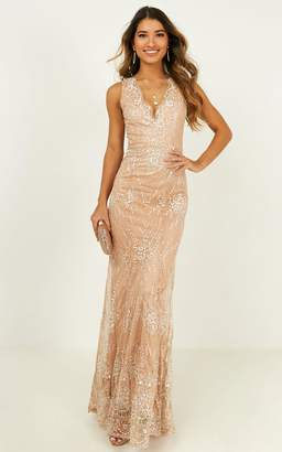 Showpo Save The Dance maxi dress in rose gold glitter - 8 (S) The