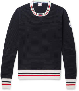 Stripe-Trimmed Waffle-Knit Cotton Sweater