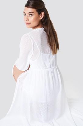Na Kd Boho Swiss Dot Ruffle Maxi Dress White