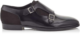 Jimmy Choo TATE Black Shiny Calf Leather and Suede Formal Shoes