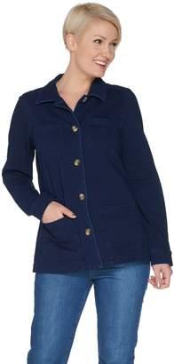 Denim & Co. Comfy Knit Denim Button Front Utility Jacket