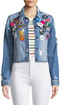 Veronica Beard Cara Cropped Jean Jacket w/ Pins