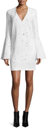 Derek Lam Jackson Bell-Sleeve Sheath Dress, Black/White $1,695 thestylecure.com