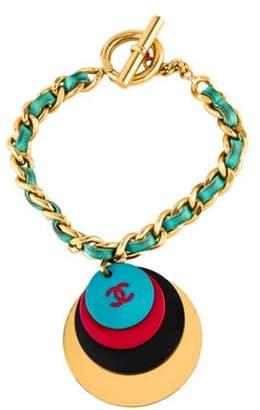 Chanel Leather Resin CC Logo Charm Bracelet Gold Leather Resin CC Logo Charm Bracelet