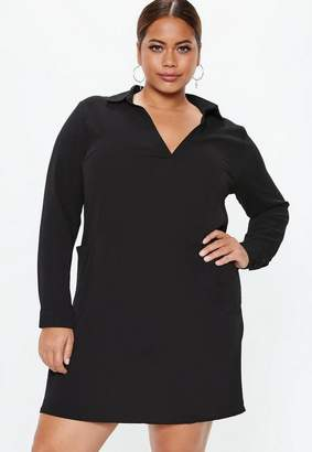 Missguided Plus Size Black Pocket Smock Shirt Dress