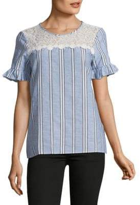 Karl Lagerfeld Lace-Yoke Bell-Sleeve Stripe Top