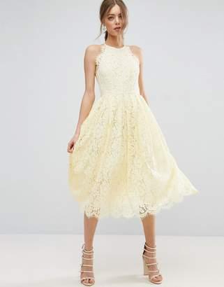 ASOS Lace Pinny Scallop Edge Prom Midi Dress $113 thestylecure.com