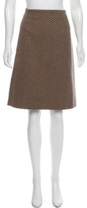 Celine Céline Herringbone Wool Skirt Brown Céline Herringbone Wool Skirt