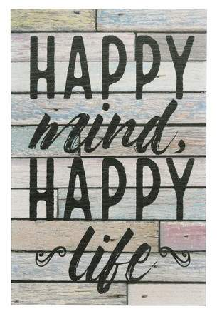 Stonebriar Collection Happy Mind Wall Art White 10 x 15