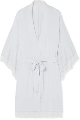 Eberjey Colette The Mademoiselle Lace-trimmed Stretch-modal Jersey Robe - Sky blue