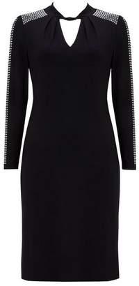 Wallis Petite Black Twist Neck Embellished Shift Dress