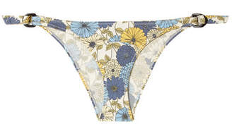 Lisa Marie Fernandez Magdalena Floral-print Stretch-denim Bikini Briefs - Blue