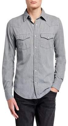 Tom Ford Men's Western Denim Sport Shirt
