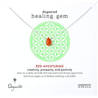 Dogeared Sterling Silver Red Aventurine Lasting Healing Gem Necklace of 40.64 cm