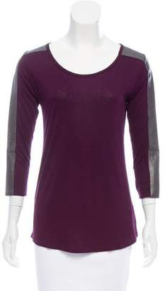 Aiko Leather-Paneled Scoop Neck Top