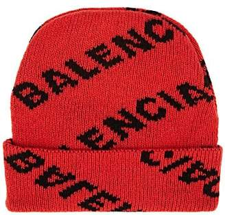 Balenciaga Women's Logo Wool Beanie - Orange