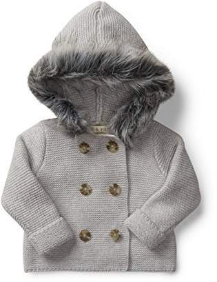 Hope & Henry Layette Grey Baby Sweater with Faux Fur Hood Made with Organic Cotton