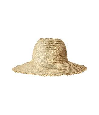 San Diego Hat Company PBF7349 - Paper Straw Fedora with Embroidered Pineapple and Fray Edge