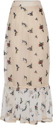 Rahul Mishra Bouquet Embroidered Sheer Chiffon Skirt