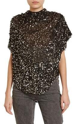Isabel Marant Imanea Messy Sequined Cap-Sleeve Blouse