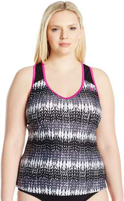 ZeroXposur Women's Plus Size Knit Mesh Action Swimsuit Tankini Top
