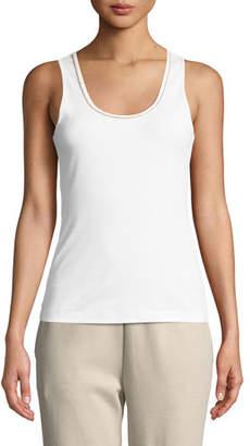 Joan Vass Golden-Chain Sleeveless Cotton Tank Top, Plus Size
