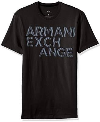 Armani Exchange A|X Men's Striped Logo Crew Neck Tee