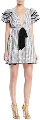Valentino Plunging Ruffle Cap-Sleeve Polka-Dot Dress with Velvet Tie