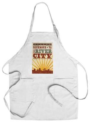 Richmond Richmond, Virginia - Skyline & Sunburst Screenprint Style - Lantern Press Artwork (Cotton/Polyester Chef's Apron)