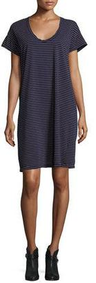 Current/Elliott The Slouchy Scoop-Neck T-Shirt Dress, Navy Sonic Stripe $138 thestylecure.com