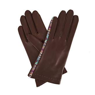 Arabella Gizelle Renee Dark Brown Leather Gloves with Brown and Mauve Braided Barcode Tana Lawn