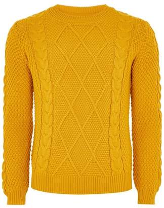 Topman Mens Yellow Mustard Cable Knit Sweater
