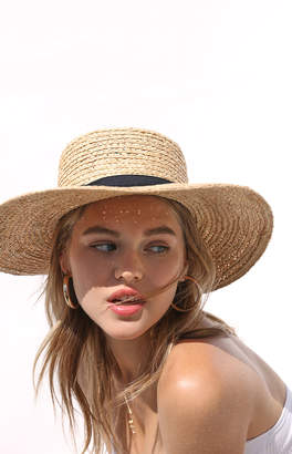 La Hearts Straw Boater Hat