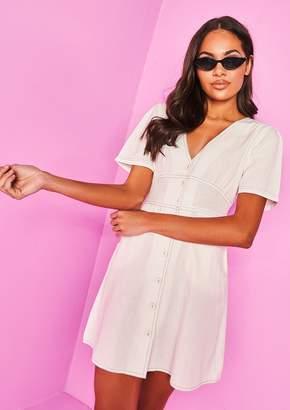 10c549d4ef Missy Empire Missyempire Briella Cream Button Up Dress