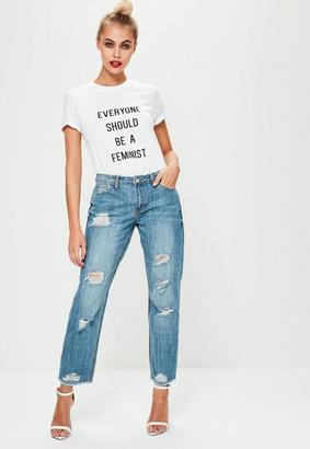 Blue Low Rise Boyfriend Ripped Jeans $57 thestylecure.com