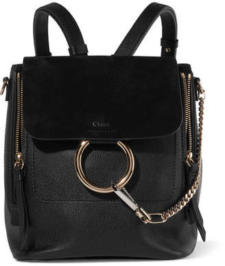 Chloé Faye Small Leather And Suede Backpack - Black