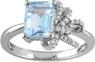 Laura Ashley Sterling Silver Sky Blue Topaz & 1/10 Carat T.W. Diamond Bow Ring $675 thestylecure.com