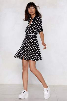 Nasty Gal Dot Under the Collar Polka Dot Shirt Dress
