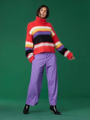 Diane von Furstenberg LongSleeve Chunky Striped TurtleneckSweater